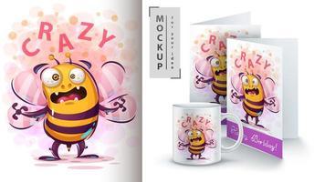 schattige gekke bijen ontwerp poster vector