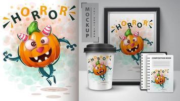 halloween pompoen schattige horror poster vector