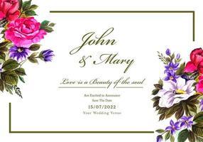 romantische bruiloft uitnodiging met kleurrijke bloemen vector