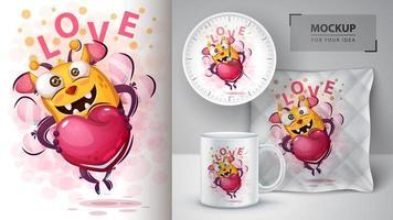 schattige liefde bij met hart vector