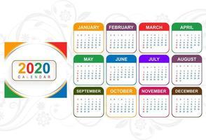 kleurrijke nieuwe jaar 2020 kalender met florale achtergrond vector