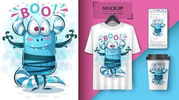 schattig blauw monster boo-ontwerp vector