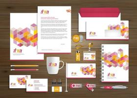 kleurrijke kubus promotionele zakelijke sjabloon set