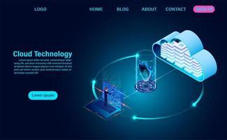 zakenman op laptop gegevens overbrengen naar de cloud