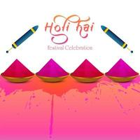 Indiase festival van gelukkige holi roze en rode kaart