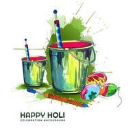 Holi festival wenskaart met emmers en ballonnen