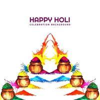 Holi-kaart met kleurrijke opgesteld gulal