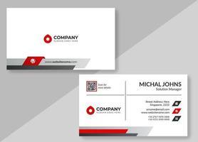 wit visitekaartje met rode en grijze details