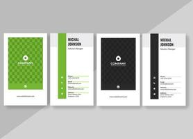 visitekaartje ingesteld met groen en zwart vierkant patroon