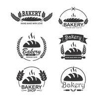 platte bakkerij logo sjabloon set
