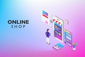 online winkelen op website of mobiele applicatie vector
