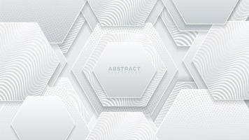 witte zeshoeken textuur met golvende patronen vector