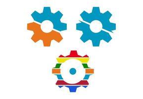 trendy kleurrijke tandwielpictogrammen
