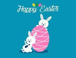 vrolijk Pasen met roze ei achtergrond