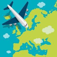 vliegtuig vliegt over Europa vector