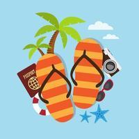 slippers en accessoires voor op reis vector