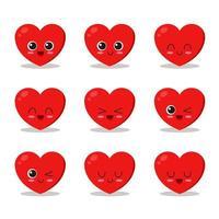 schattig hart tekenset vector