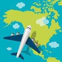 vliegtuig vliegt over Amerika