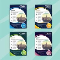 zakelijke folder sjabloon set met kleurrijke wervelingen vector