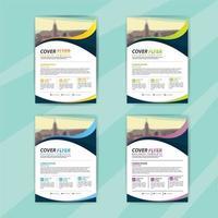 zakelijke folder sjabloon set met vloeiende vormen vector