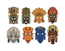 set van acht sierlijke gedetailleerde mayan maskers vector