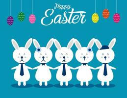 witte konijnen hand in hand onder eieren