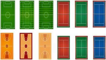 verzameling sportvelden en banen vector