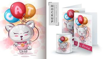 kat met luchtballonposter en merchandising vector