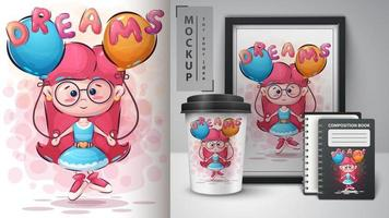 dromen meisje poster en merchandising vector