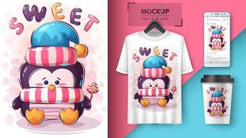 pinguïn met snoep poster vector