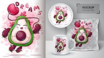 vliegende avocado dromen poster