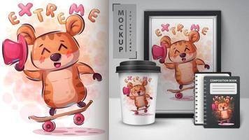 hamster skate trick poster en merchandising vector