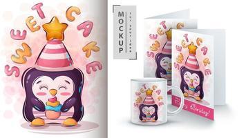 pinguïn met cake poster en merchandising vector