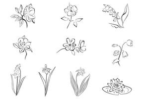 Getrokken bloem Vector Set