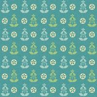 Teal Green Retro Flower Vector Patroon