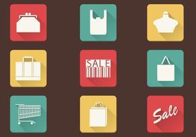 Eenvoudig winkelen iconen Vector Pack