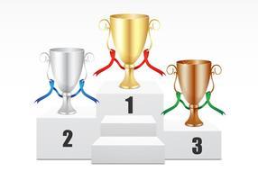 Goud, Zilver, Bronzen Trofee Vector Set