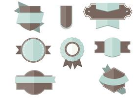 Platte labels linten vector set