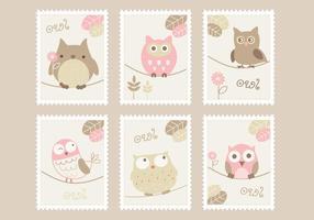 Cartoon Uilen Postzegels Vector Set