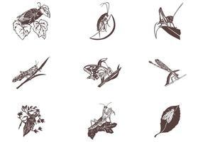 Insecten op bladeren Vector Set