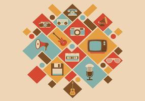 Retro Media Icon Vector Achtergrond