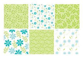 Blauwe Groene Bloemen Bladeren Achtergronden Vector Set