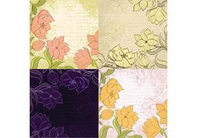 Sketched Floral Backgrounds Vector
