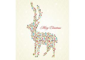 Retro Kerst Rendier Achtergrond Vector