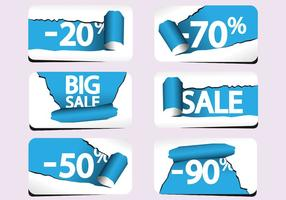 Torn Paper Sale Labels Vector Pack