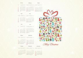 Retro kerstcadeau kalender vector