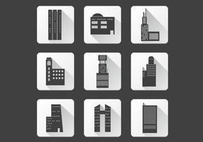 Kantoorgebouw iconen vector pack