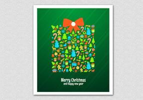Groene Kerstcadeau Vector Achtergrond
