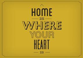 thuis is hart je hart is vector achtergrond