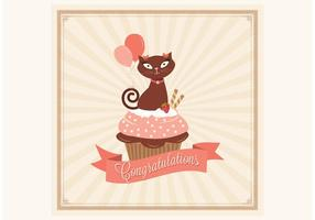Gratis Gefeliciteerd Cupcake Card Vector